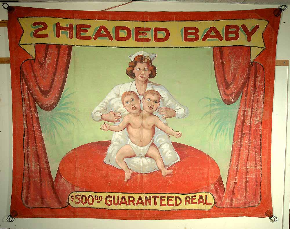 2 headed baby sideshow banner by Fred G. Johnson