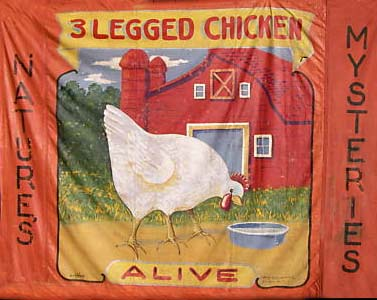 3 legged chicken sideshow banner by Fred G. Johnson