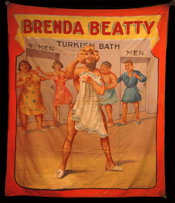 Brenda Beatty bearded lady sideshow banner by Fred G. Johnson