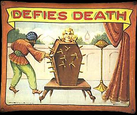 Defies death sideshow banner by Fred G. Johnson
