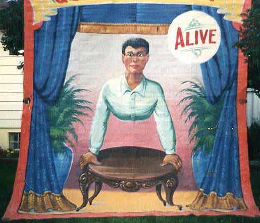 Half man sideshow banner by Fred G. Johnson