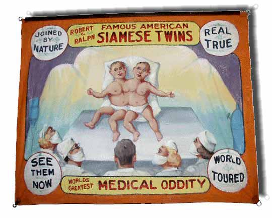 Siamese twins sideshow banner by Fred G. Johnson