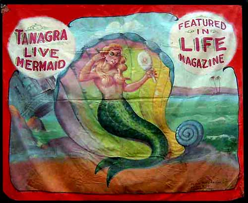 Tanagra mermaid sideshow banner by Fred G. Johnson