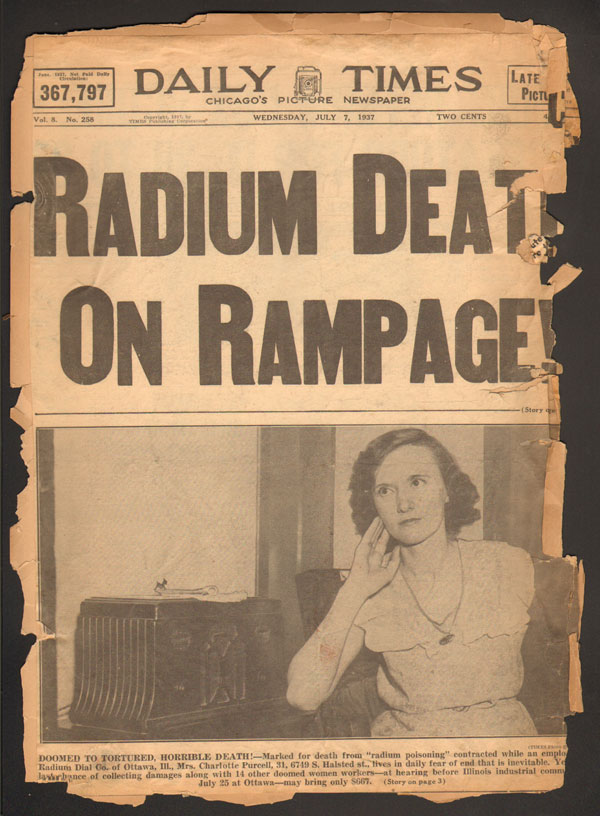 Radium death headline about the Radium Dial Co. of Ottawa, IL