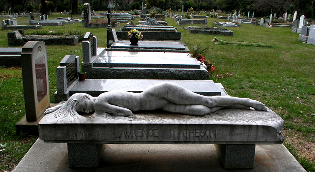 "Laurence Matheson ""Asleep"" gravestone"