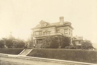 Vintage photo of the Flavel house in Astoria, Oregon