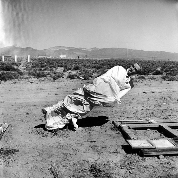 Replica town destroyed in Nevada A-bomb test May 1955
