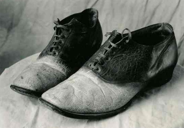 Human skin shoes of outlaw Big Nose George Parrott