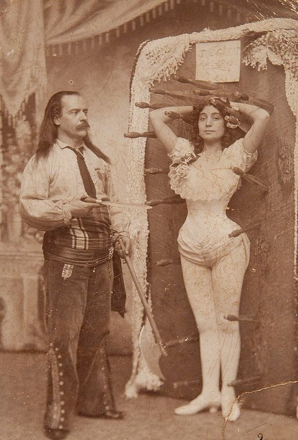 Vintage circus sideshow knife thrower