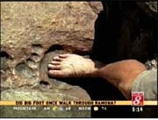 Giant footprint discovered by James Snyder in billion-year-old granite in Cleveland National Forest