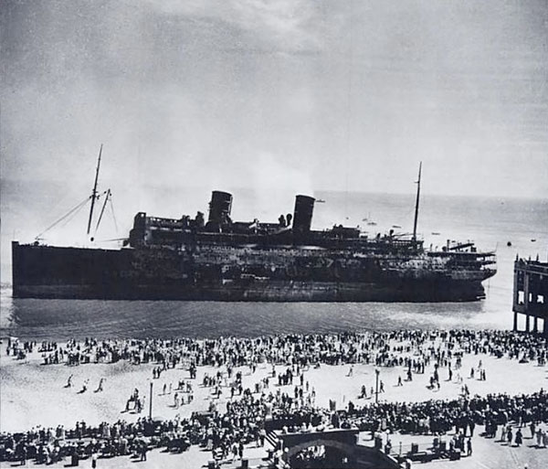 Wreckage of the SS Morro Castle on the New Jersey shoreline