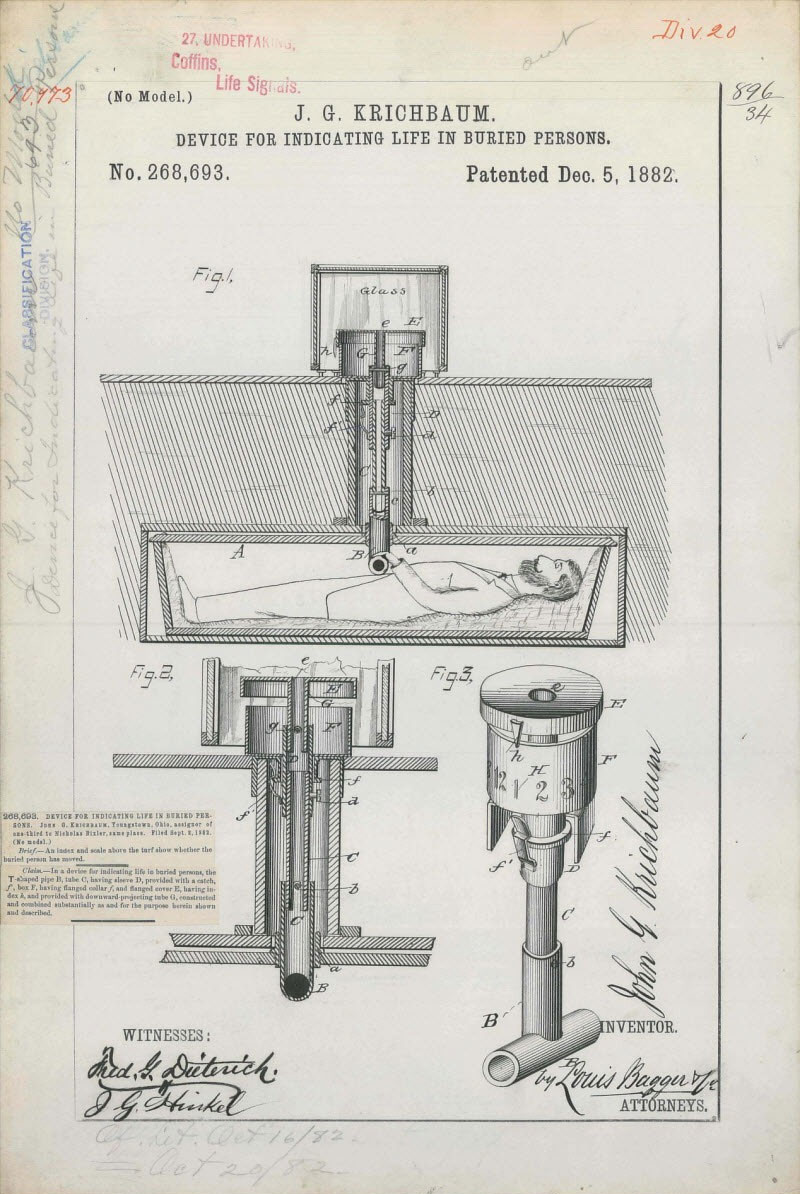 1882 design for a safety coffin to help a person buried alive signal for help