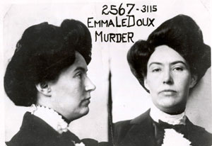 The mugshot of Emma LeDoux, the first woman to receive the death penalty in California