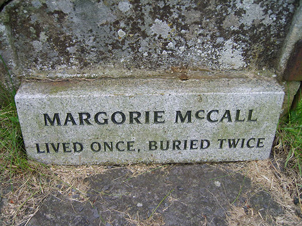 The grave of Margorie McCall - lived once, buried twice