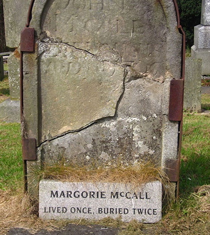 Margorie McCall lived once but was buried twice