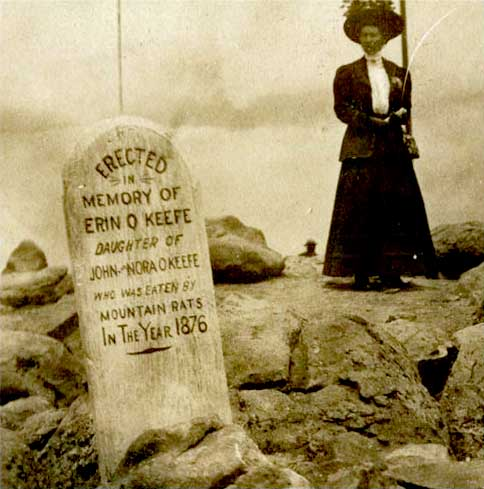 The grave of John O'Keefe's imaginary daughter, eaten by mountain rats on Pike's Peak