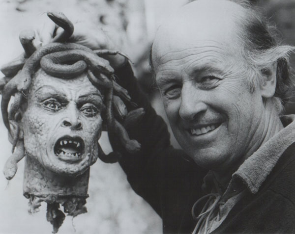 Ray Harryhausen with the severed head of Medusa from Clash of the Titans
