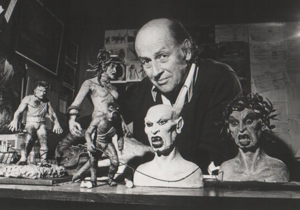 Legendary stop-motion animator Ray Harryhausen with his creatures for Clash of the Titans