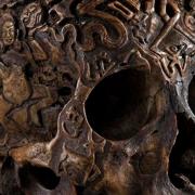 Tibetan engraved human skull