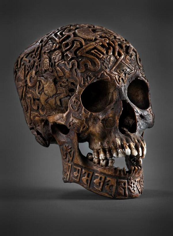 Tibetan engraved Kapala skull