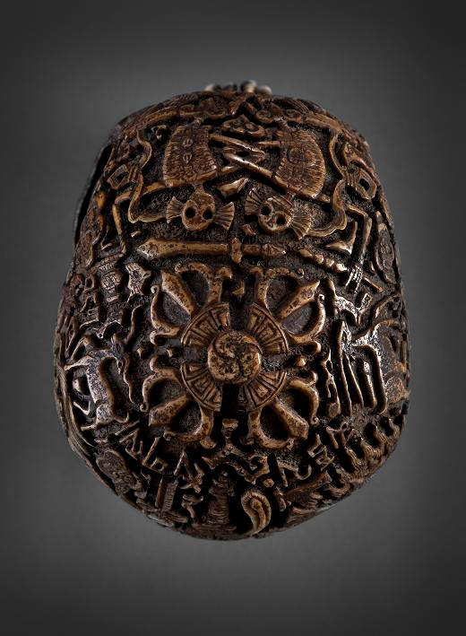 Top view of the engraved skull from Tibet