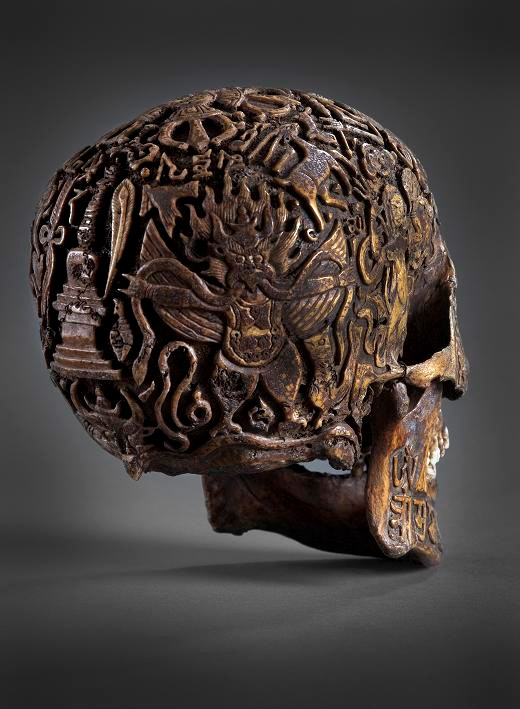 Back view of the engraved human skull from Tibet