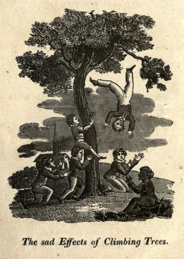 Kids learn why their parents told them not to climb trees in this engraving from the 1819 book The Accidents of Youth