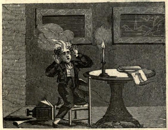 Thomas ignored his mother's words of caution and got his head set on fire in this engraving from The Accidents of Youth