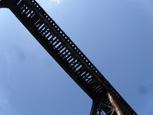 View from the ground of the Pope Lick tressel looming overhead