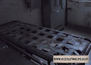A gurney in the Waverly Hills morgue