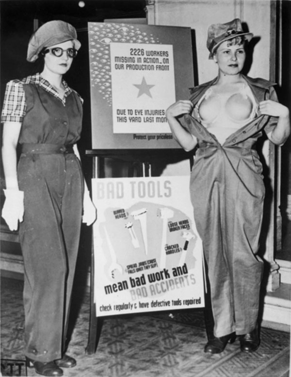 Breast protectors for female war workers during World War II c.1943