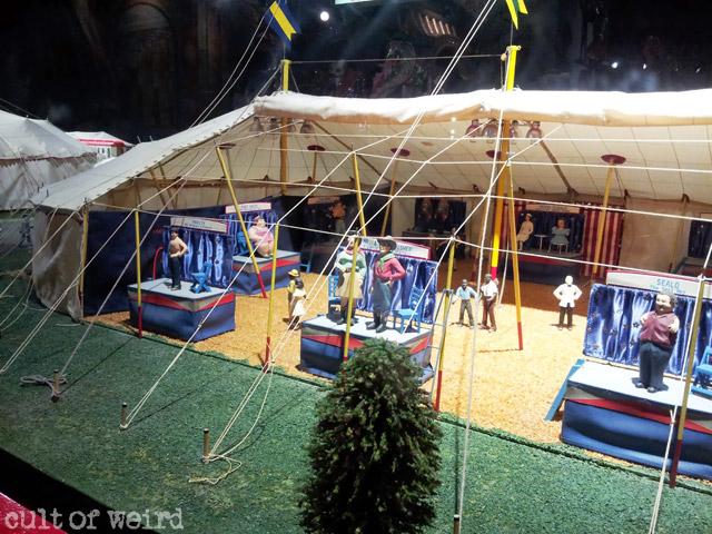 Miniature circus sideshow diorama