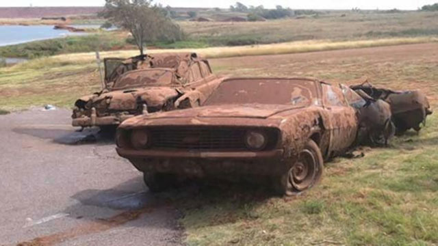 Cars found at the bottom of Foss Lake in Custer County, Oklahoma with the skeletal remains of six missing persons