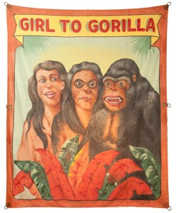 Girl to gorilla sideshow banner by Fred G. Johnson
