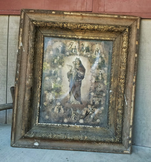 Antique Madonna of the Rosary picture depicting the 15 Mysteries