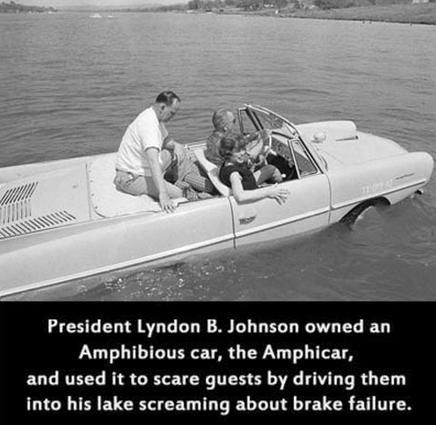 President Lyndon B. Johnson in his lagoon blue amphicar, 1965