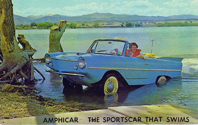 Vintage Amphicar postcard