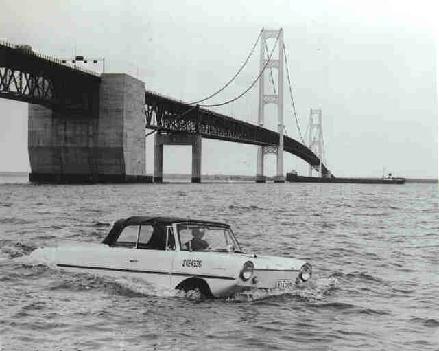 Vintage photo of an Amphicar in the water