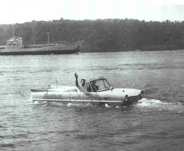 An Amphicar in the water