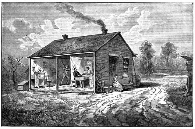 An illustration of the home where the Bloody Benders murdered weary Kansas travelers
