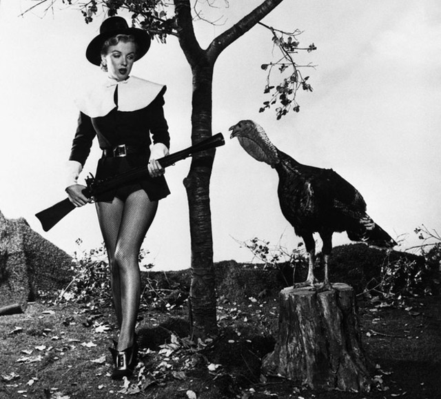 Marilyn Monroe as a sexy pilgrim for Thanksgiving, 1950