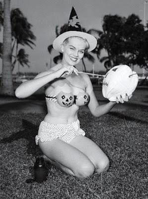 Vintage Halloween jack-o-lantern bikini pinup