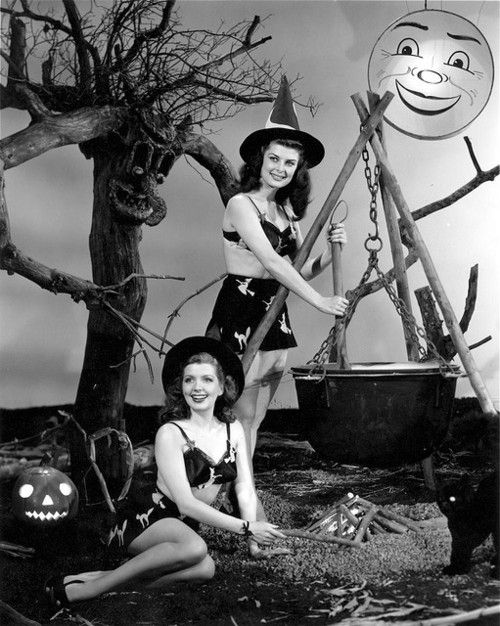Vintage Halloween pinup witches