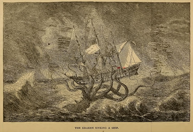 The kraken sinks a ship