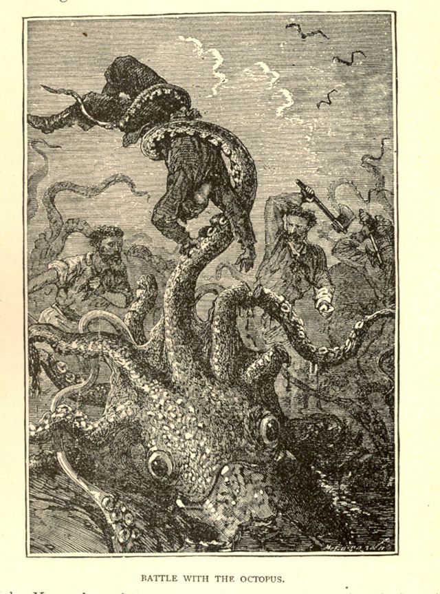 Octopus attack in J.W. Buel's Land and Sea
