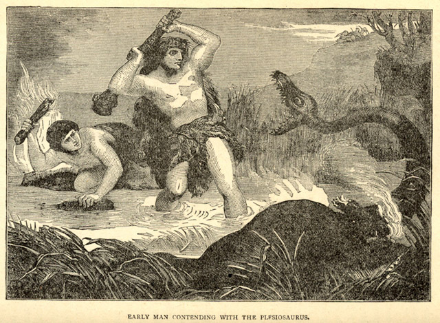 Early man fights off a plesiosaurus