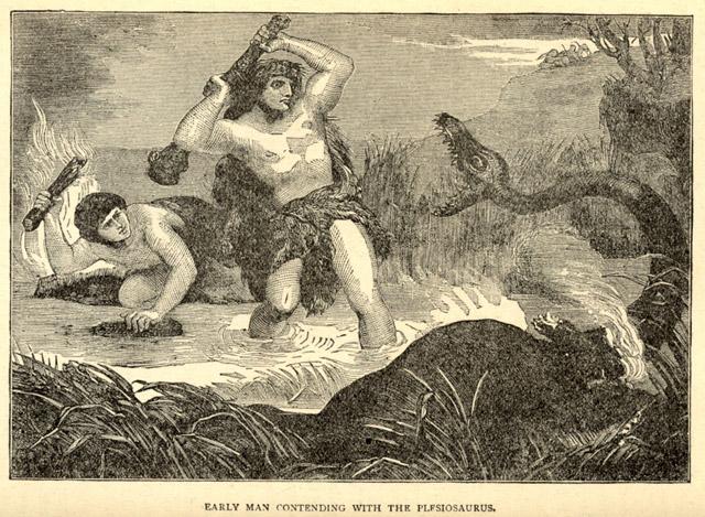 Early man fights off a plesiosaurus