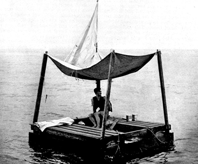 Poon Lim in a recreation of the raft he survived in at sea for 133 days