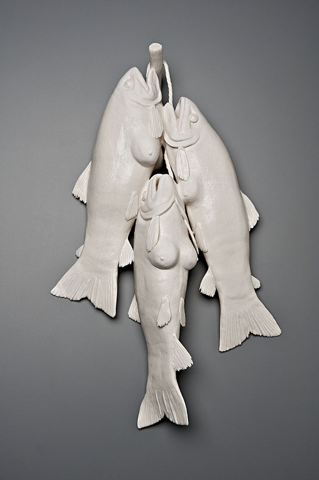 Fish with breasts porcelain sculpture by Kate MacDowell