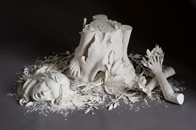 Daphne shattered porcelain sculpture by Kate MacDowell